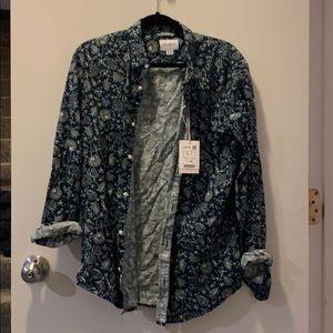 Tropical patterned men's button down shirt